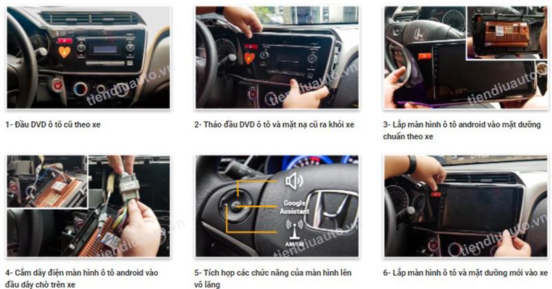 lắp màn hình android ô tô tiendiuauto